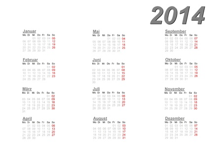 German calendar for 2014 on white background photo