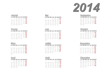 French calendar for 2014 on white background photo