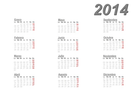 Spanish calendar for 2014 on white background photo