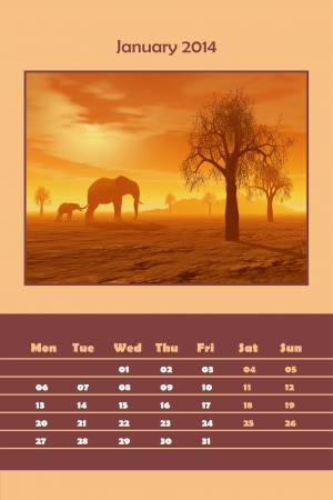 Colorful english calendar for january 2014 - elephant and baby by sunset, 3D render photo