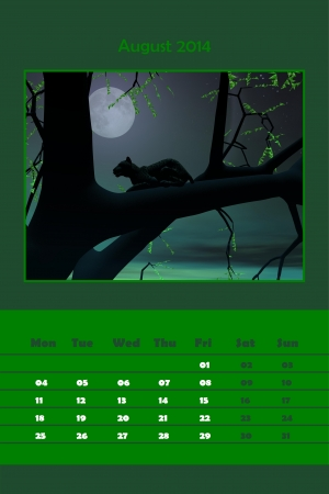 Colorful english calendar for august 2014 - panther in a tree by full moon night, 3D render photo