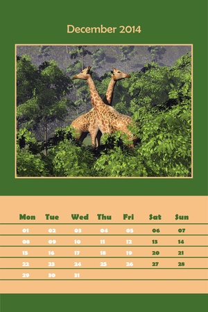 Colorful english calendar for december 2014 - two giraffes among green vegetation, 3D render photo