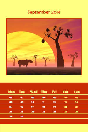 Colorful english calendar for september 2014 - rhinoceros silhouette by sunset, 3D render photo