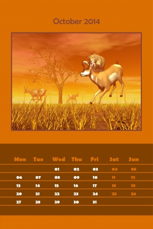 Colorful english calendar for october 2014 - lionness hunting pronghorn antelope, 3D render photo