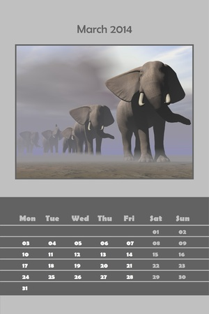 Colorful english calendar for march 2014 - elephants in a row by foggy day, 3D render photo