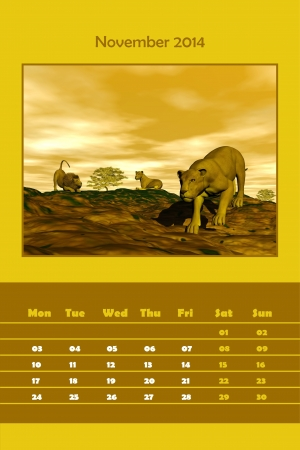 Colorful english calendar for november 2014 - lions resting scene, 3D render photo