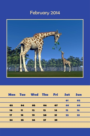 Colorful english calendar for february 2014 in black background - giraffe mum feeding little one, 3D render photo
