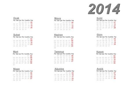 Turkish calendar for 2014 on white background photo