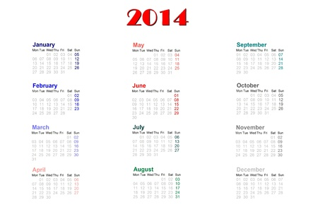English calendar for 2014 on white background photo