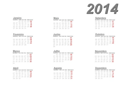 Portuguese calendar for 2014 on white background photo