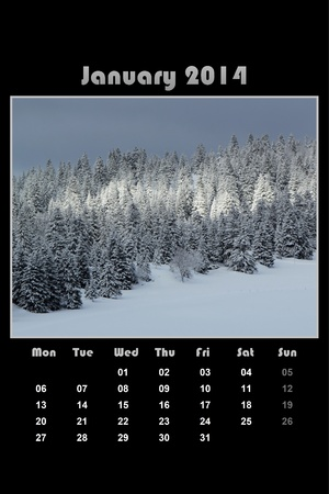 Colorful english calendar for january 2014 in black background, fir trees forest and winter mountain photo