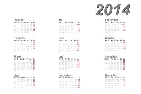 白い背景の 2014 年のオランダのカレンダー