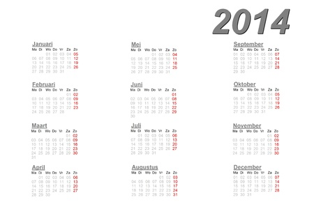 Calendrier néerlandais pour 2014 sur fond blanc