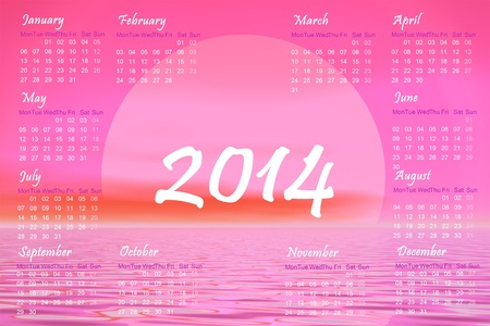 English 2014 monthly calendar and pink sunset over the ocean photo