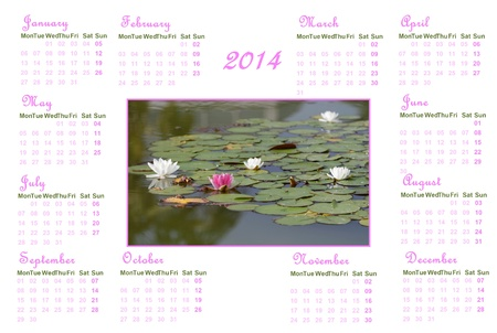 English calendar for 2014 on white background with water lilies and leaves photo