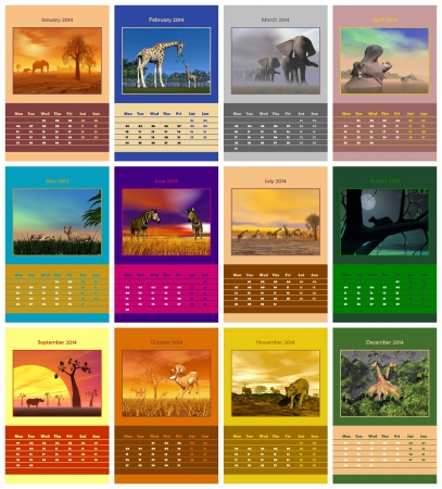 Safari animals english calendar for 2014 in colorful background Stock Photo