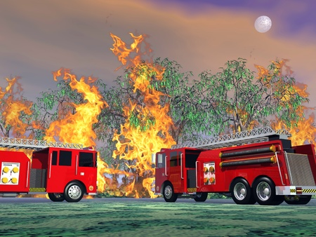 conflagration: Illustration of two utility trucks near forest fire by full moon night