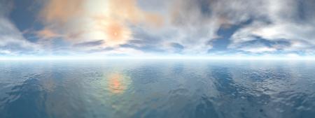 海、360 度効果に夕日の美しいパノラマ