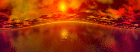 Beautiful panorama of red sunset upon the ocean, 360 degrees effect photo