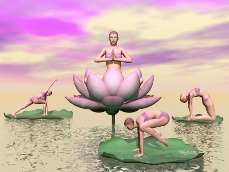 Women practicing yoga posture with lotus flowers and leaves upon water in pink background photo