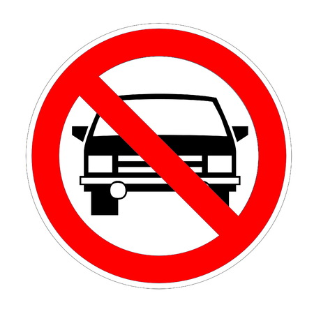 disallowed: No cars allowed sign in white background Stock Photo