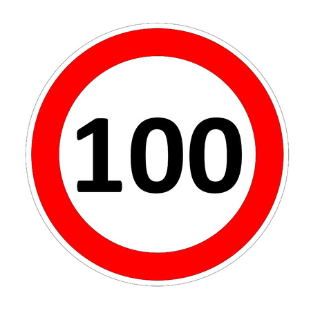 safer: 100 speed limitation road sign in white background Stock Photo