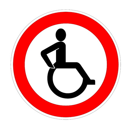 Disabled handicapped person symbol into red circle in white background photo