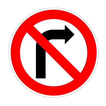Do not turn right sign in white background photo