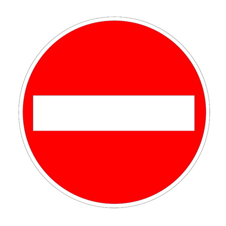 Red no entry sign isolated in white background photo