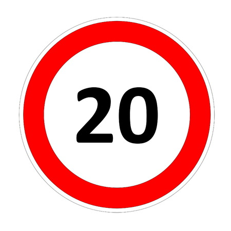 safer: 20 speed limitation road sign in white background