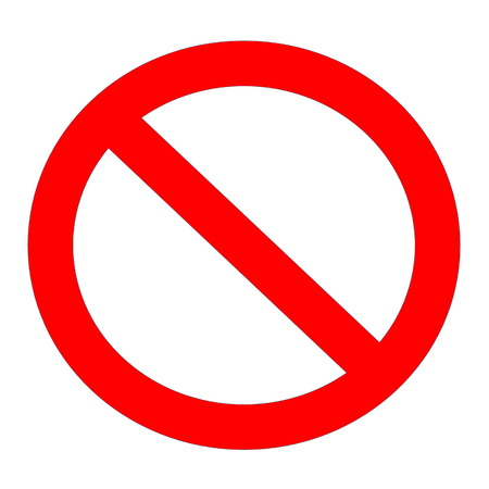 Red not allowed sign in white background