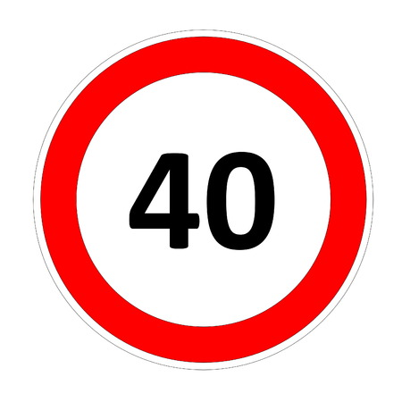 safer: 40 speed limitation road sign in white background