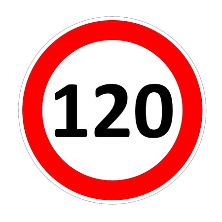 limitation: 120 speed limitation road sign in white background Stock Photo