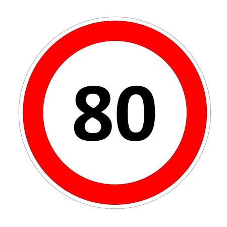 80 speed limitation road sign in white background