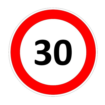 30 speed limitation road sign in white background