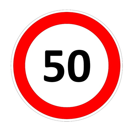 safer: 50 speed limitation road sign in white background Stock Photo