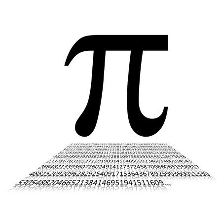 Noir nombre Pi et signe écrit sur fond blanc