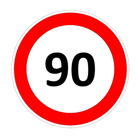 safer: 90 speed limitation road sign in white background