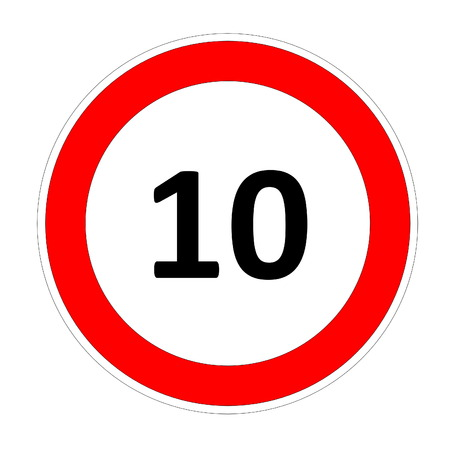 safer: 10 speed limitation road sign in white background Stock Photo