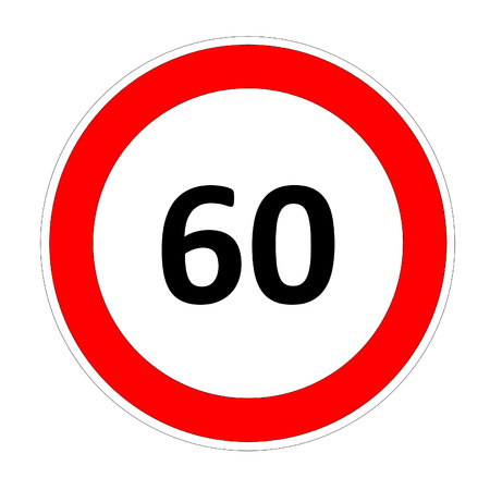 safer: 60 speed limitation road sign in white background Stock Photo