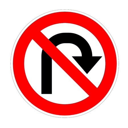 no u turn sign: Do not u-turn on right sign in white background