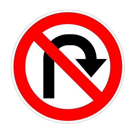 uturn: Do not u-turn on right sign in white background