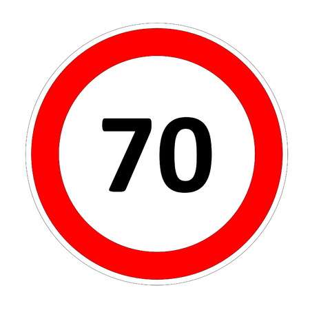 safer: 70 speed limitation road sign in white background