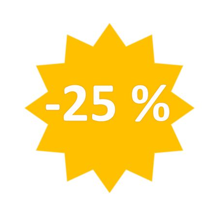 25 percent sale gold star icon in white background photo