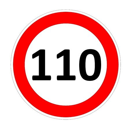 safer: 1100 speed limitation road sign in white background