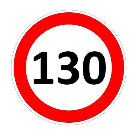 limitation: 130 speed limitation road sign in white background Stock Photo