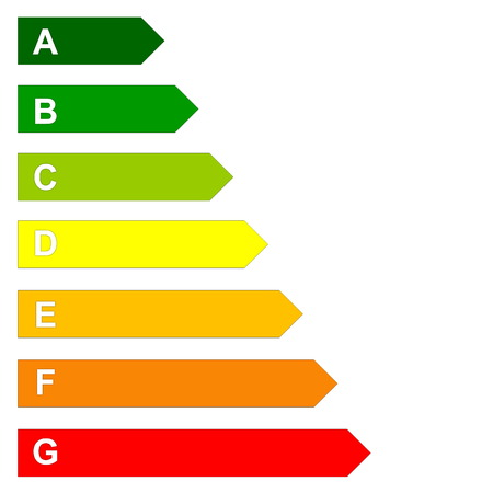 Energy efficency scale from dark green A to red G in white background Standard-Bild