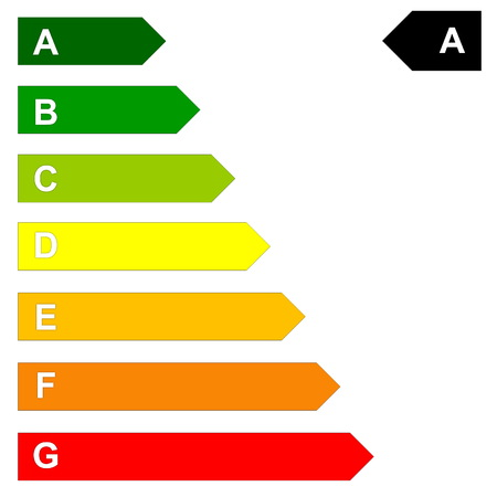 low scale: Energy efficency scale from dark green A to red G in white background Stock Photo