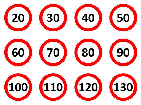 Speed limitation road signs in white background photo