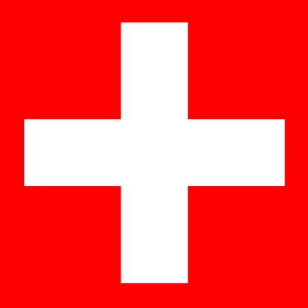 White cross in square red background for swiss flag photo